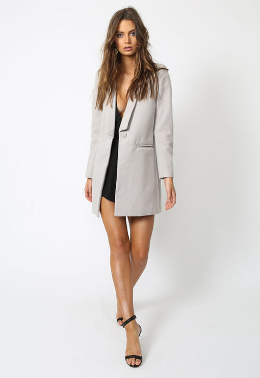 New Jupiter Lapel Coat - GREY