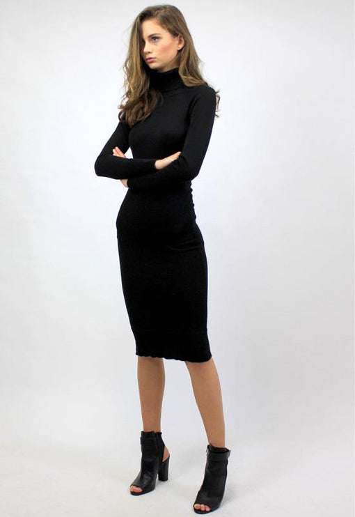 Monaco Turtleneck Dress - BLACK