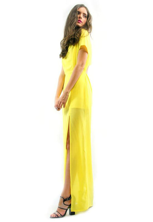 Confessions Split Maxi Dress - LEMON