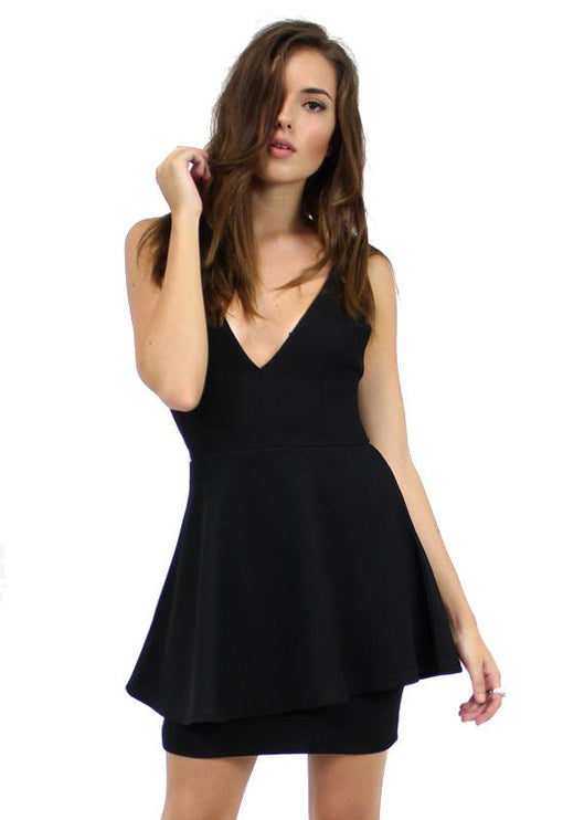 Piper Party Plunge Dress - BLACK