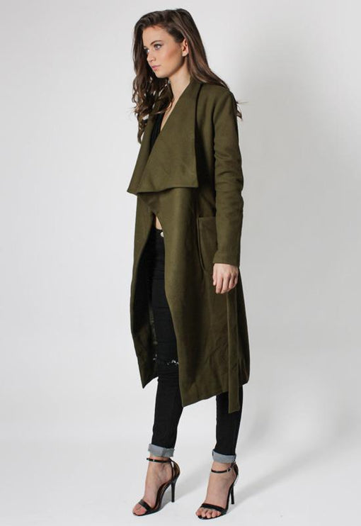 New York Minute Coat Knee Grazer - KHAKI