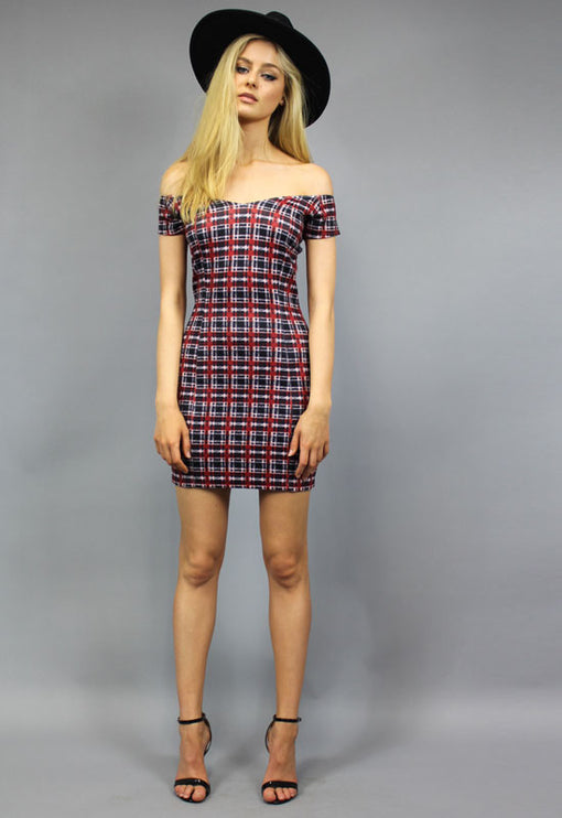Romancing Dress Tartan Print - RED