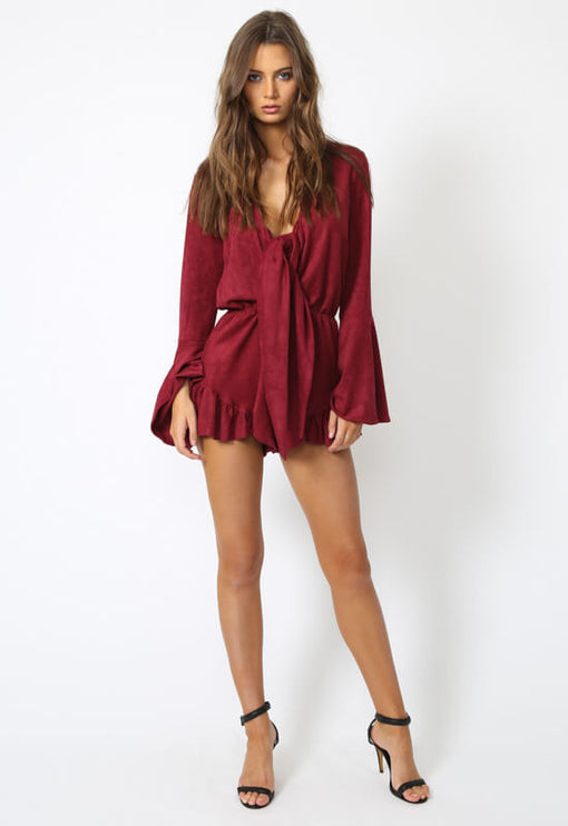 Touch Me Suedette Romper - WINE