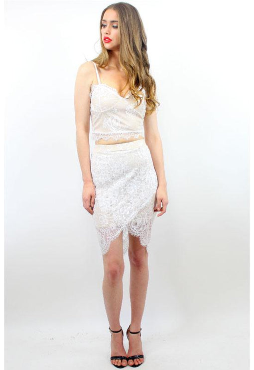 Hibiscus Lace Skirt - WHITE