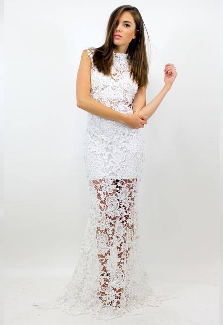 Godiva Lace Maxi Dress - WHITE