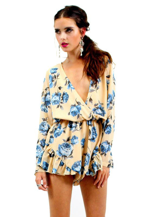 His Girl Floral Playsuit - BEIGE