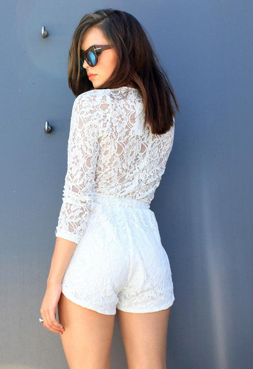 Blake Lace Playsuit - WHITE