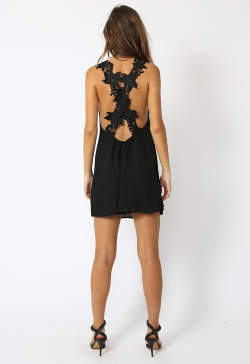 Elle Crochet Dress - BLACK
