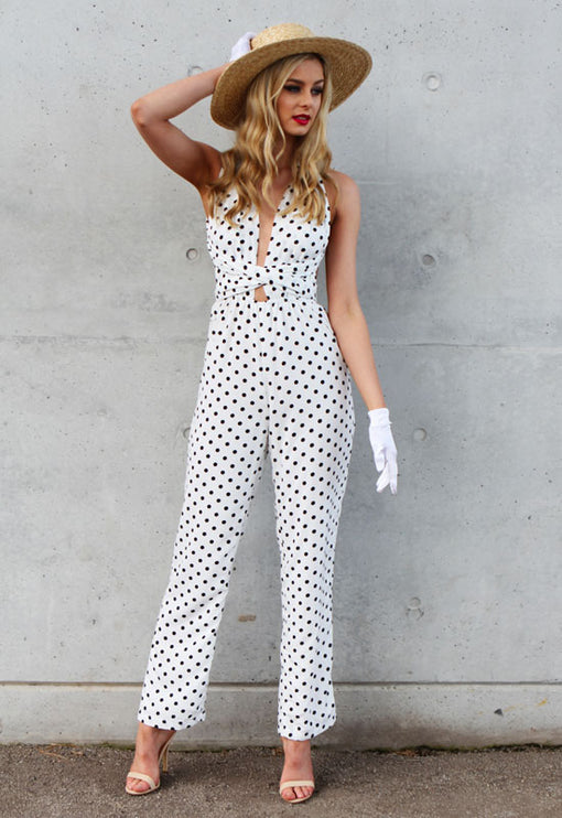 Playful Polka Jumpsuit - WHITE