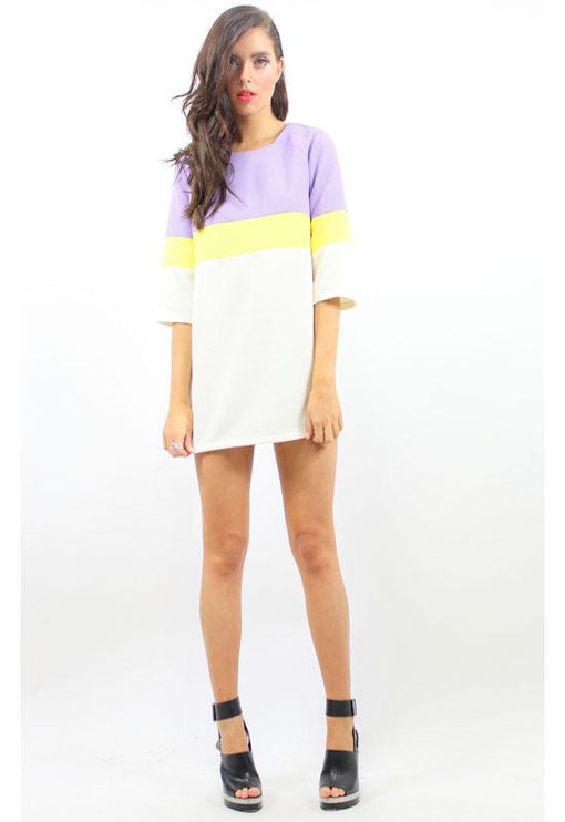 Once Again 3 Tone Dress - LILAC
