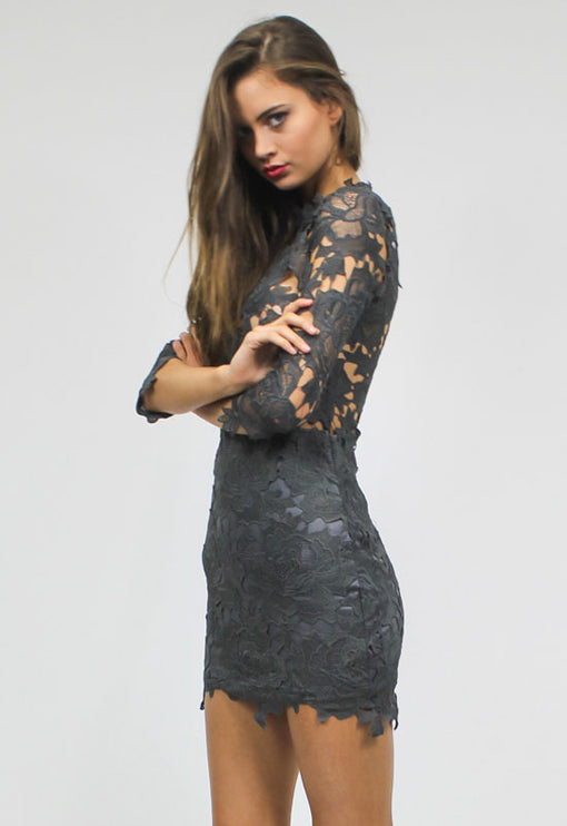 Harvest Lace Dress - GREY