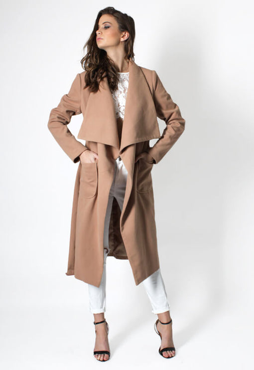 New York Minute Coat Knee Grazer - CAMEL