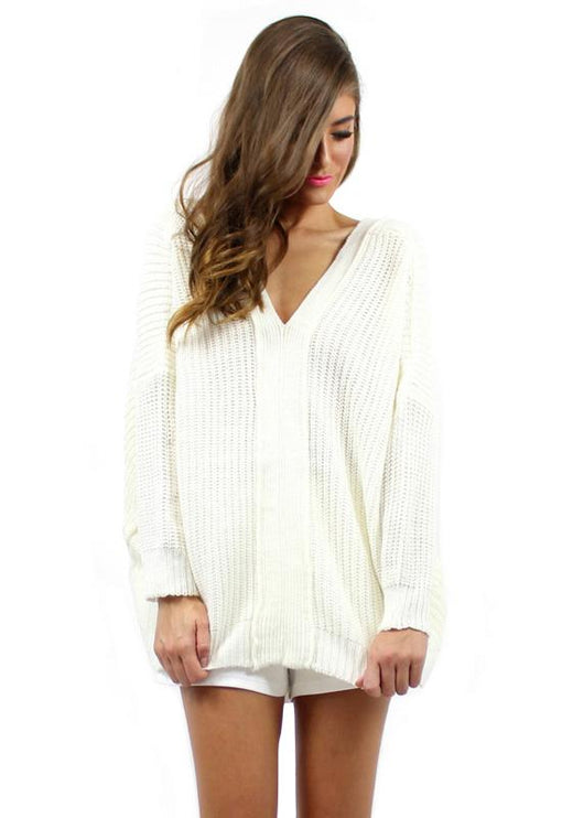 Stacey Tie Back Knit - WHITE