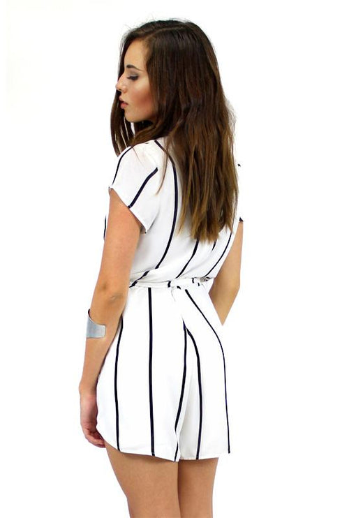 Roman Holiday Playsuit - WHITE STRIPE