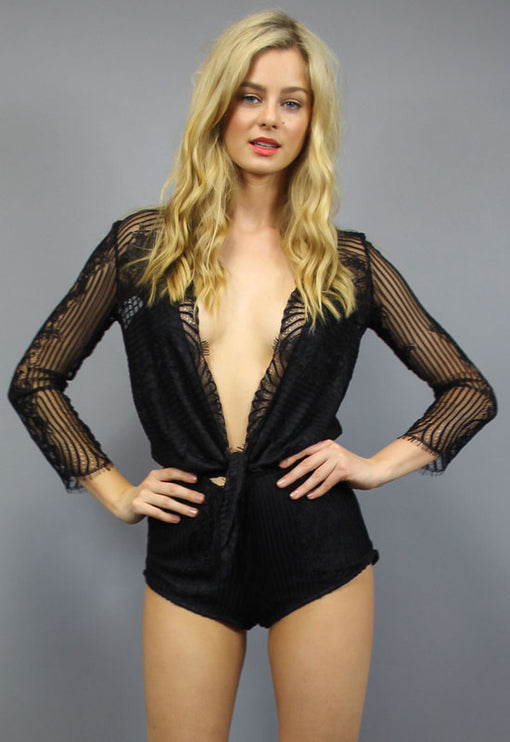 Laguna Lace Playsuit - BLACK