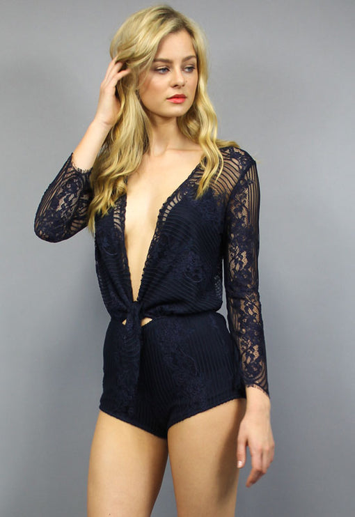 Laguna Lace Playsuit - NAVY
