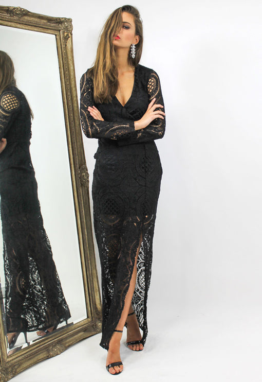 LUX Wisdom Maxi Dress - BLACK
