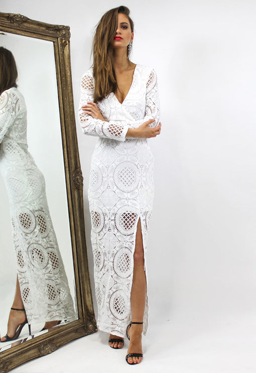 LUX Wisdom Maxi Dress - WHITE