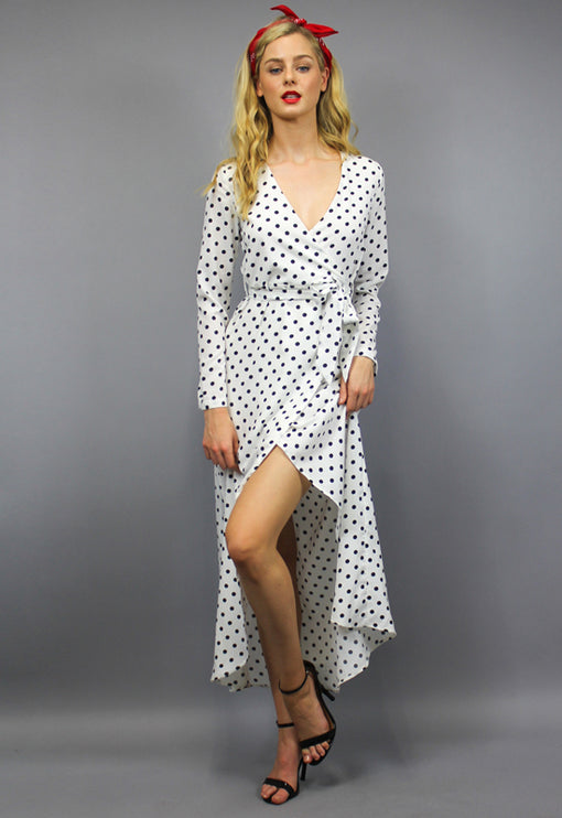 Gretta Wrap Dress - WHITE POLKA