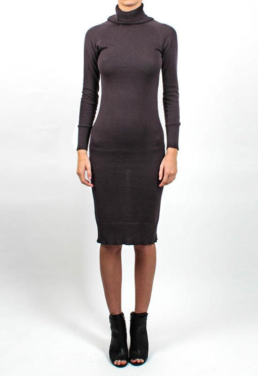 Monaco Turtleneck Dress - CHARCOAL