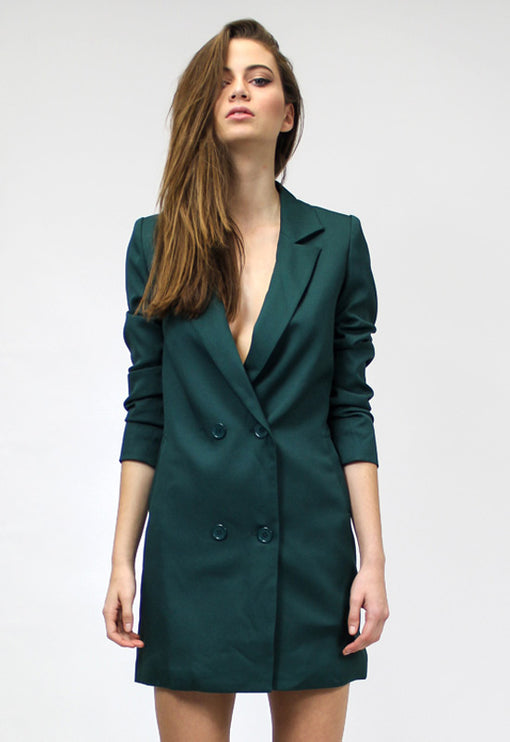 Jordan Tuxedo Dress - MOSS GREEN