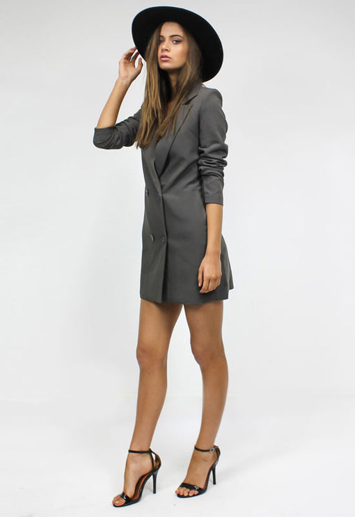 Jordan Tuxedo Dress - CHARCOAL