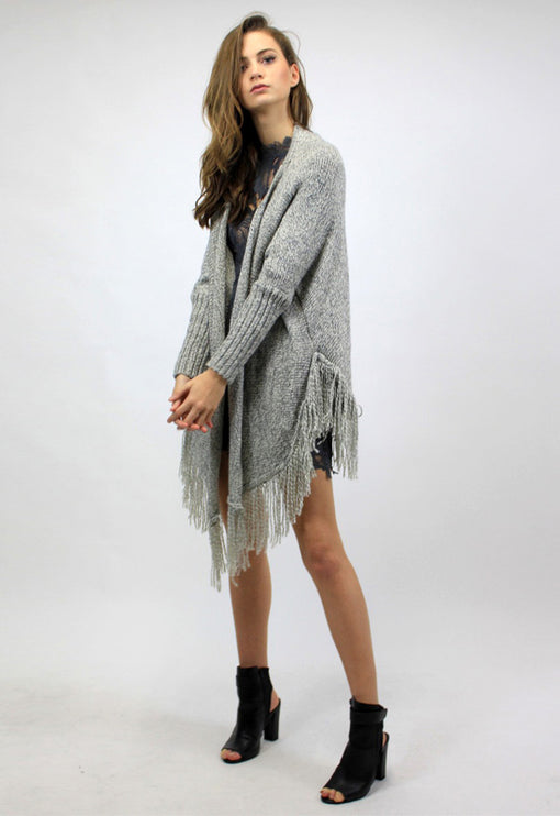 Palm Springs Tassel Cardi - GREY