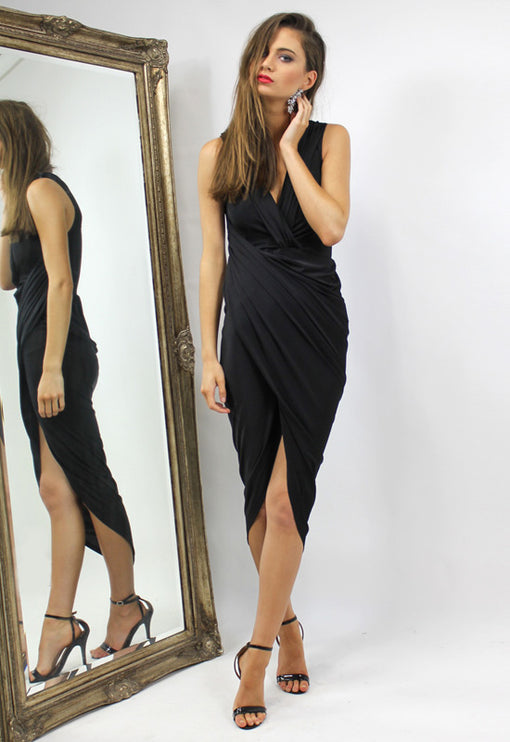 LUX Bianca Jagger Sleeveless Dress - BLACK