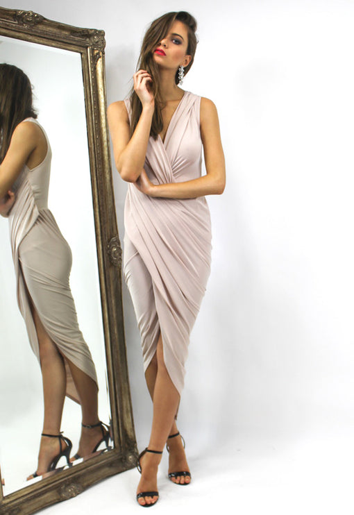 LUX Bianca Jagger Sleeveless Dress - NUDE
