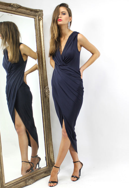 LUX Bianca Jagger Sleeveless Dress - NAVY