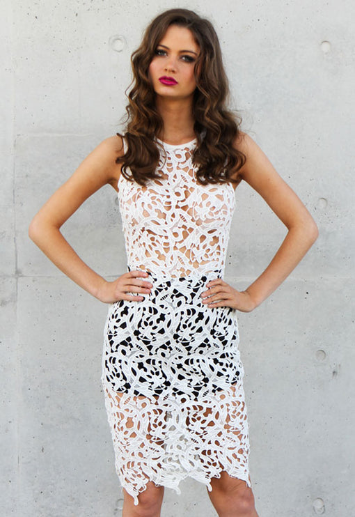 Gambler Dress in Lace - WHITE