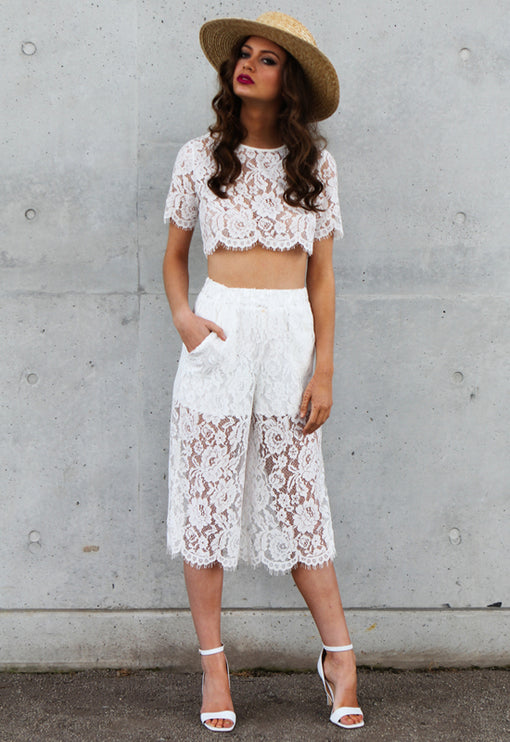 Lawn Affair Set in Lace - WHITE