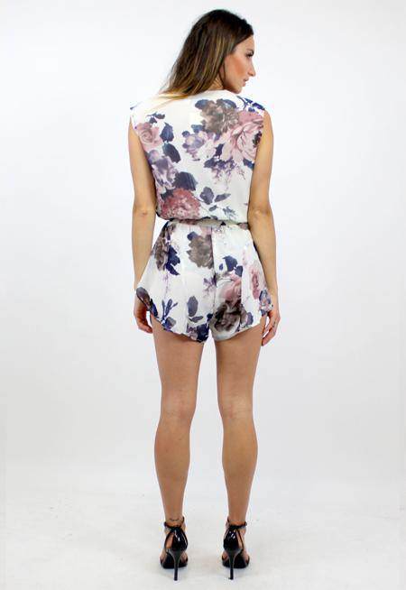 Soulmate Playsuit - WHITE FLOWER