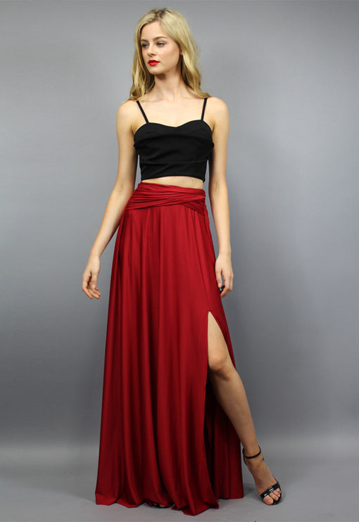 LUX Voltage Maxi Skirt - WINE