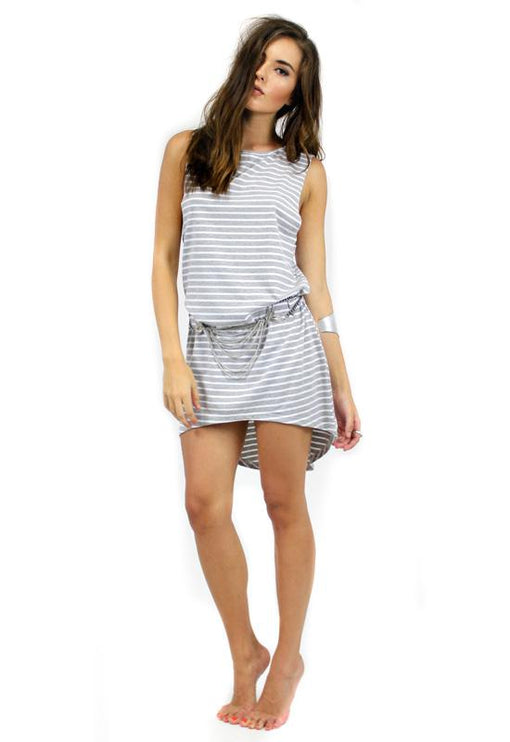 Stripe Tunic Dress - GREY