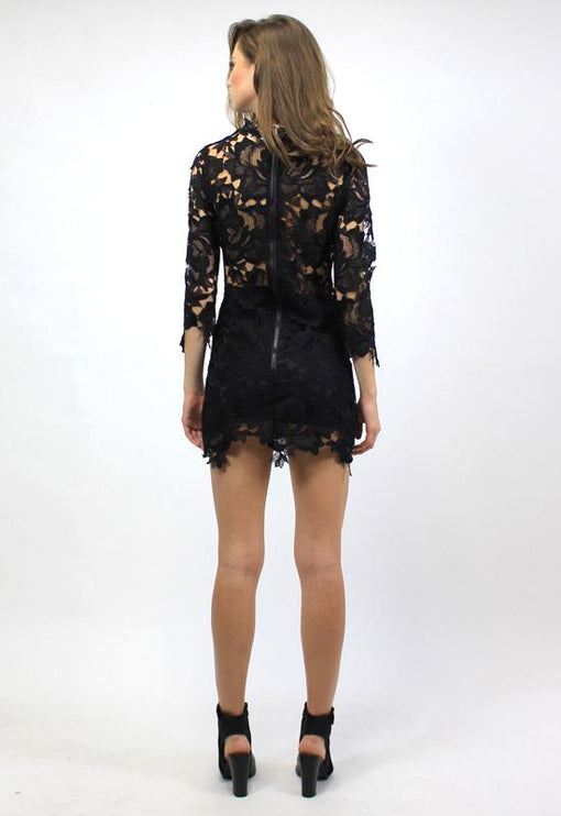 Harvest Lace Dress - BLACK