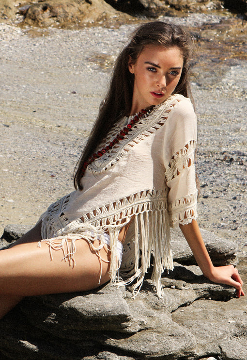 Run Wild Tassel Top - NUDE