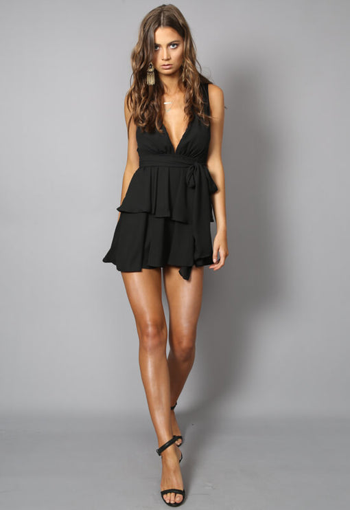 Amalfi Sleeveless Dress - BLACK