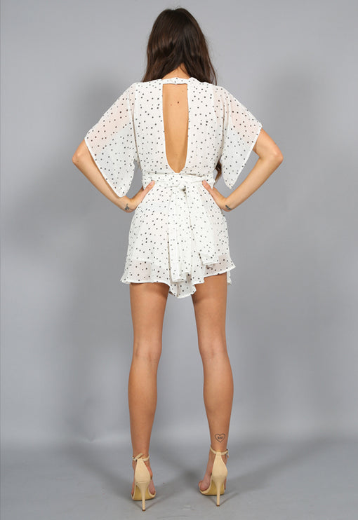 Warhol Star Print Playsuit - WHITE