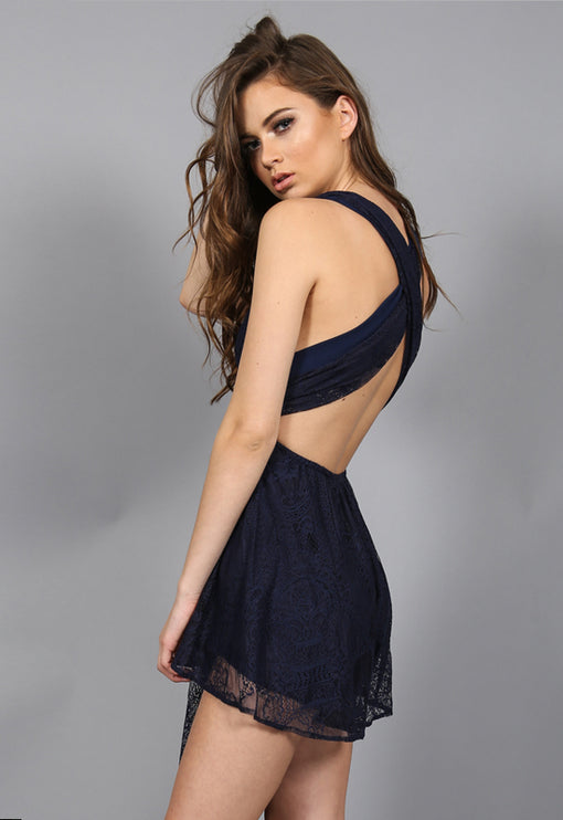 Multiway Lace Playsuit - NAVY