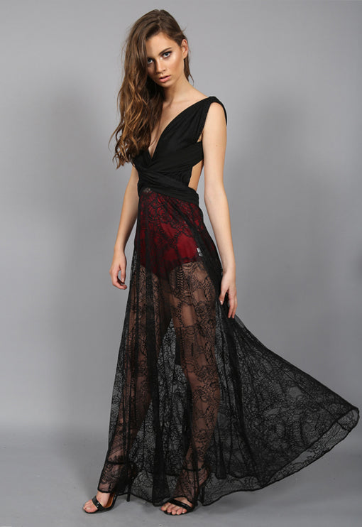 LUX Multiway Lace Maxi Dress - BLACK