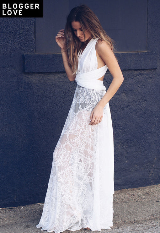 LUX Multiway Lace Maxi Dress - WHITE