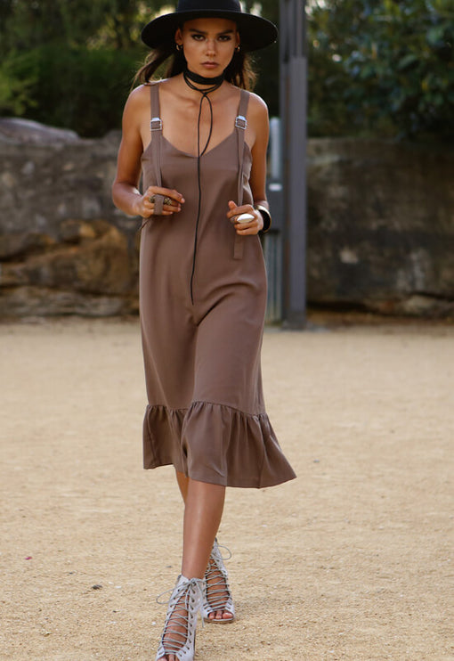 Escape With Me Ruffle Dress - CAMEL