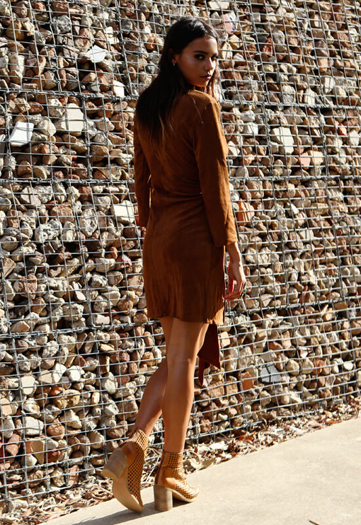 Western Seductress Suede Dress - CAMEL