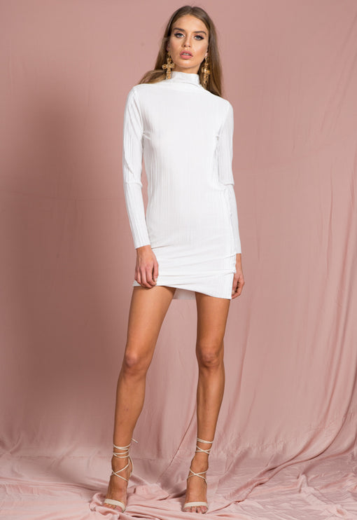 Dolce Velvet Pleat Mini Dress - WHITE