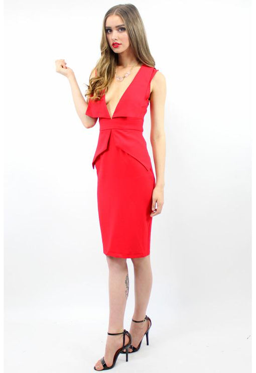 Unconditionally Peplum Midi Dress - RED