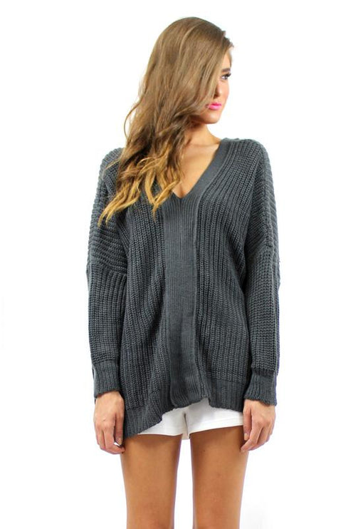 Stacey Tie Back Knit - GREY