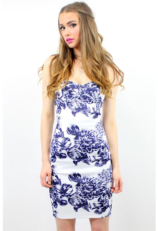 Roar Bustier Dress - BLUE ROSE PRINT