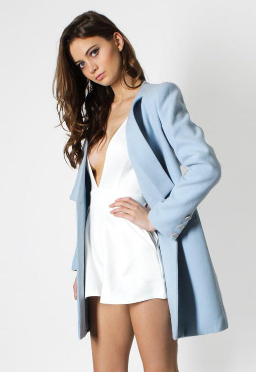 New Jupiter Lapel Coat - POWDER BLUE