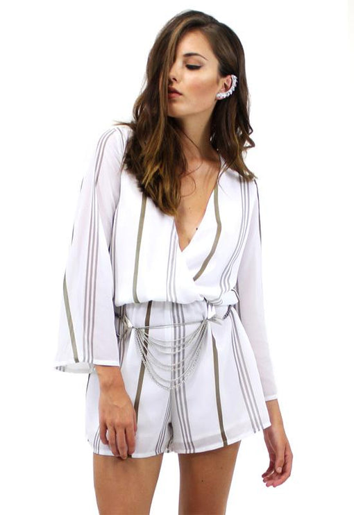 Richie Stripe Playsuit - BEIGE